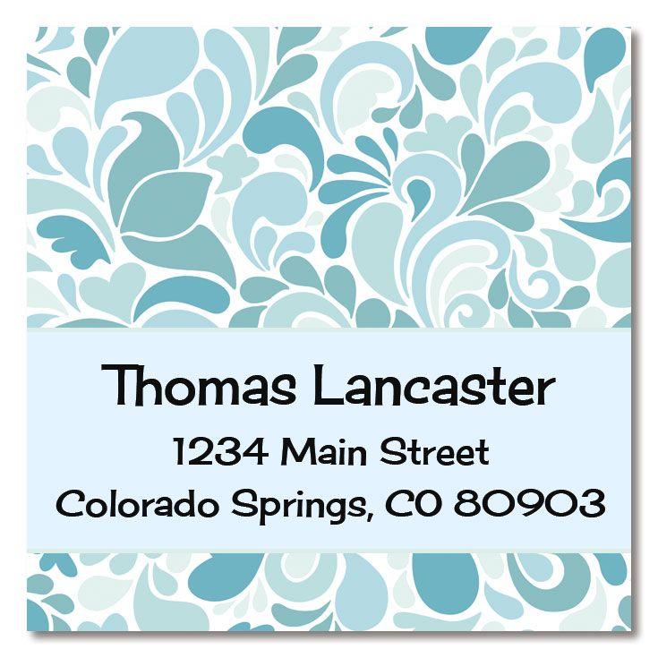 Blue Sensation Large Square Address Labels