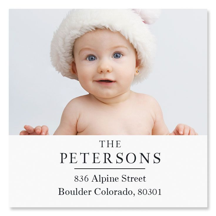 Classic Large Square Photo Personalized Address Labels