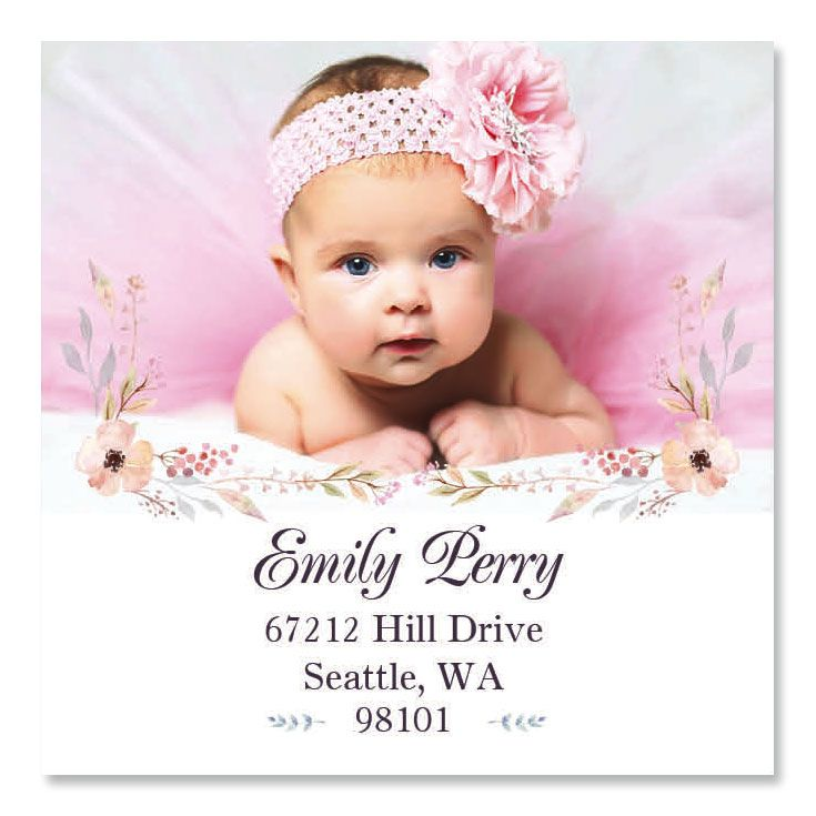 Floral Large Square Photo Personalized Address Labels
