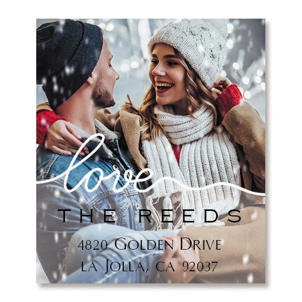 Love White Caption Select Photo Personalized Address Labels