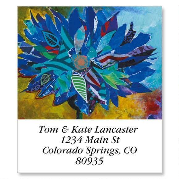 Floral & Butterfly In Blue Select Address Labels