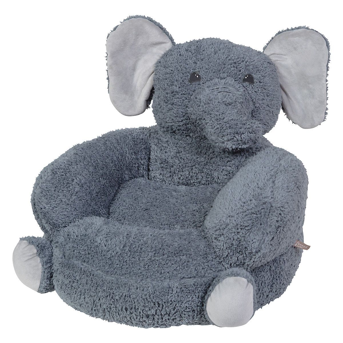 Sherpa Elephant Children's Plush Chair The Elephant Plush Character Chair brings delightful whimsy to your little one's world and to any room of the house. Perfect for reading, relaxing, snuggling. Soft outer surface is ideal for cuddling and hugging. Measures 21  x 19  x 19  with contoured support. 100% polyester plush with 100% polyester fill. Spot clean only; use a damp cloth. Suitable for most children ages 12 months and up. Standard shipping only. Expedited shipping not available. Cannot be sent outside the 48 contiguous states, or to P.O. Box, APO/FPO, or foreign addresses.