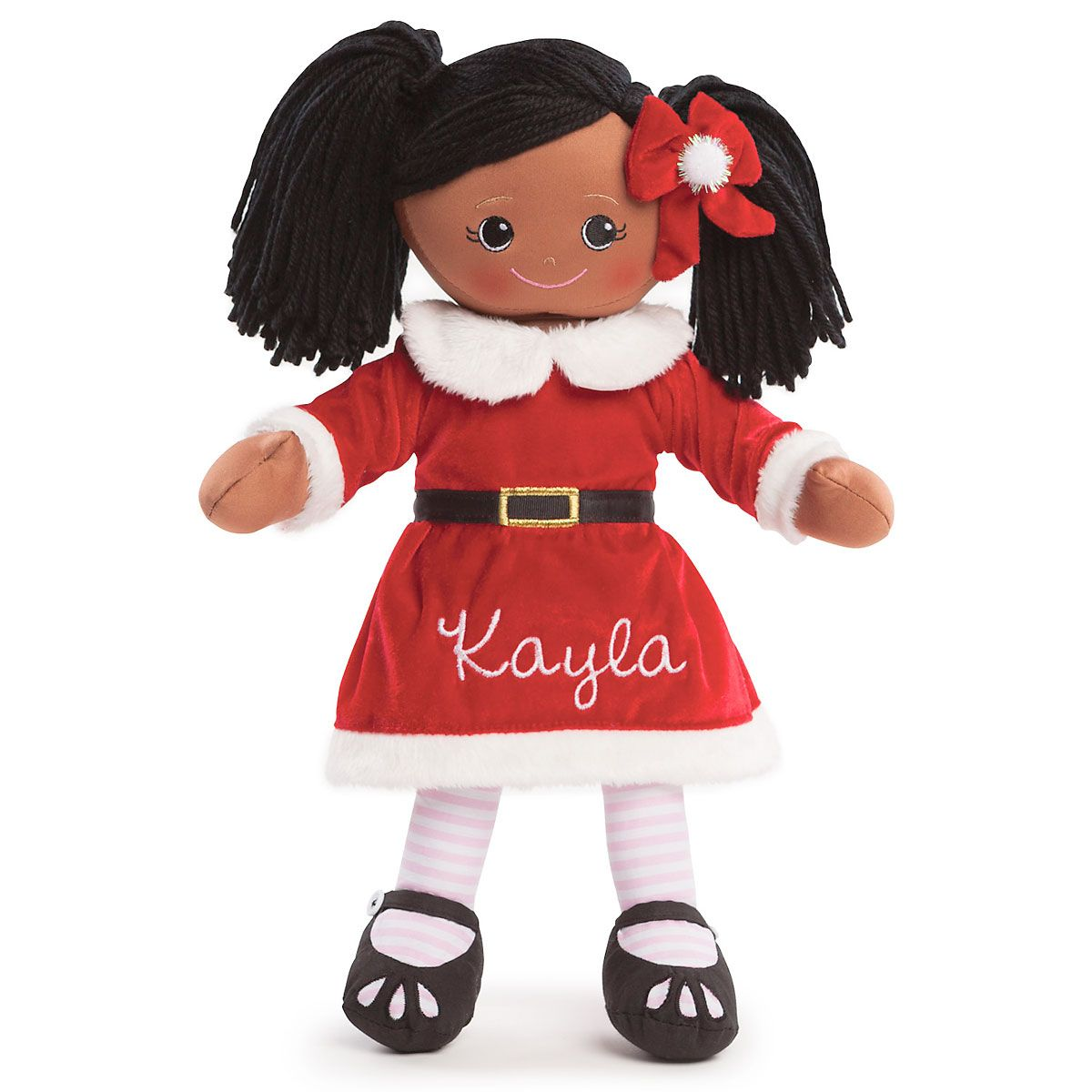 Personalized African American Rag Doll in Santa Dress