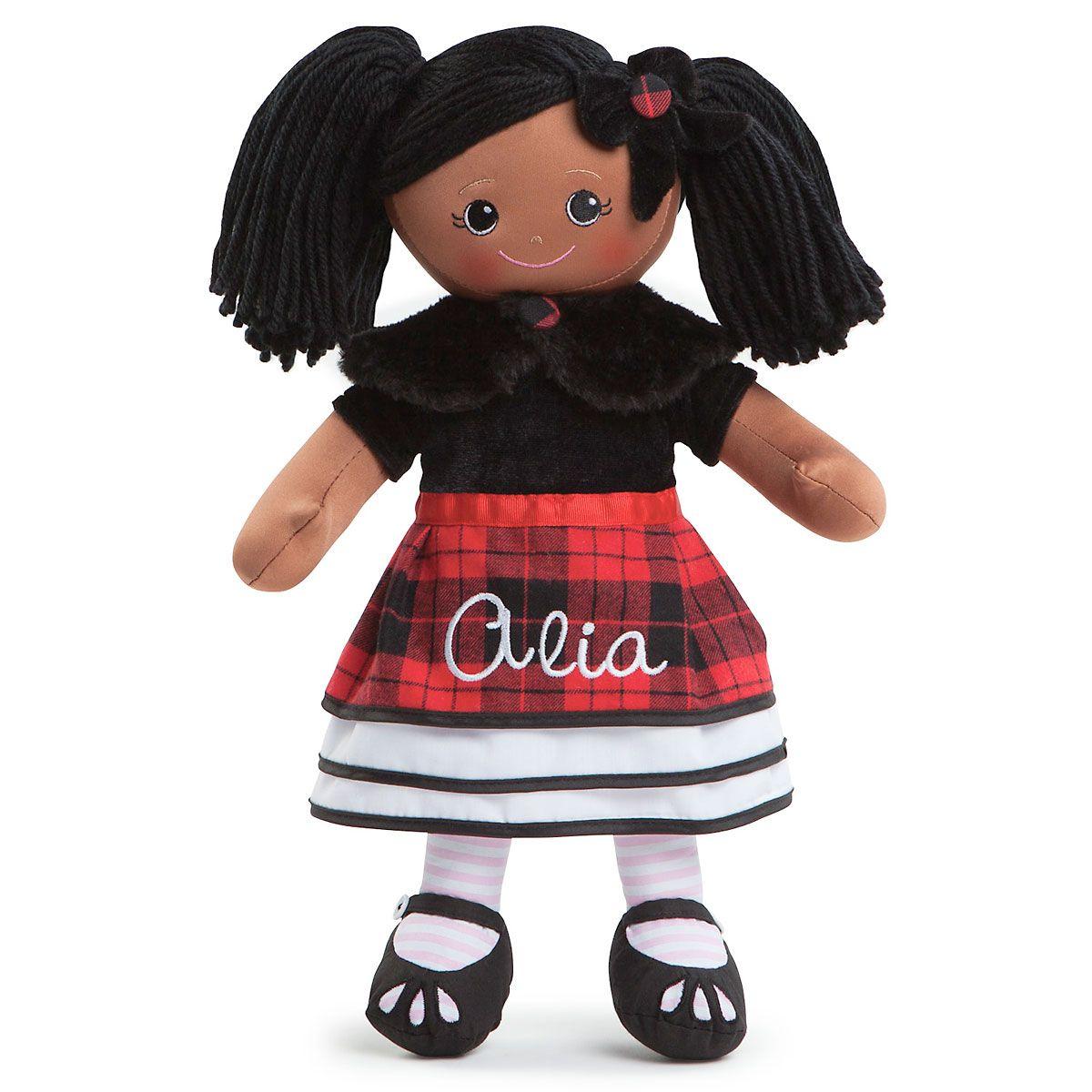 African American Rag Doll in Plaid Dress