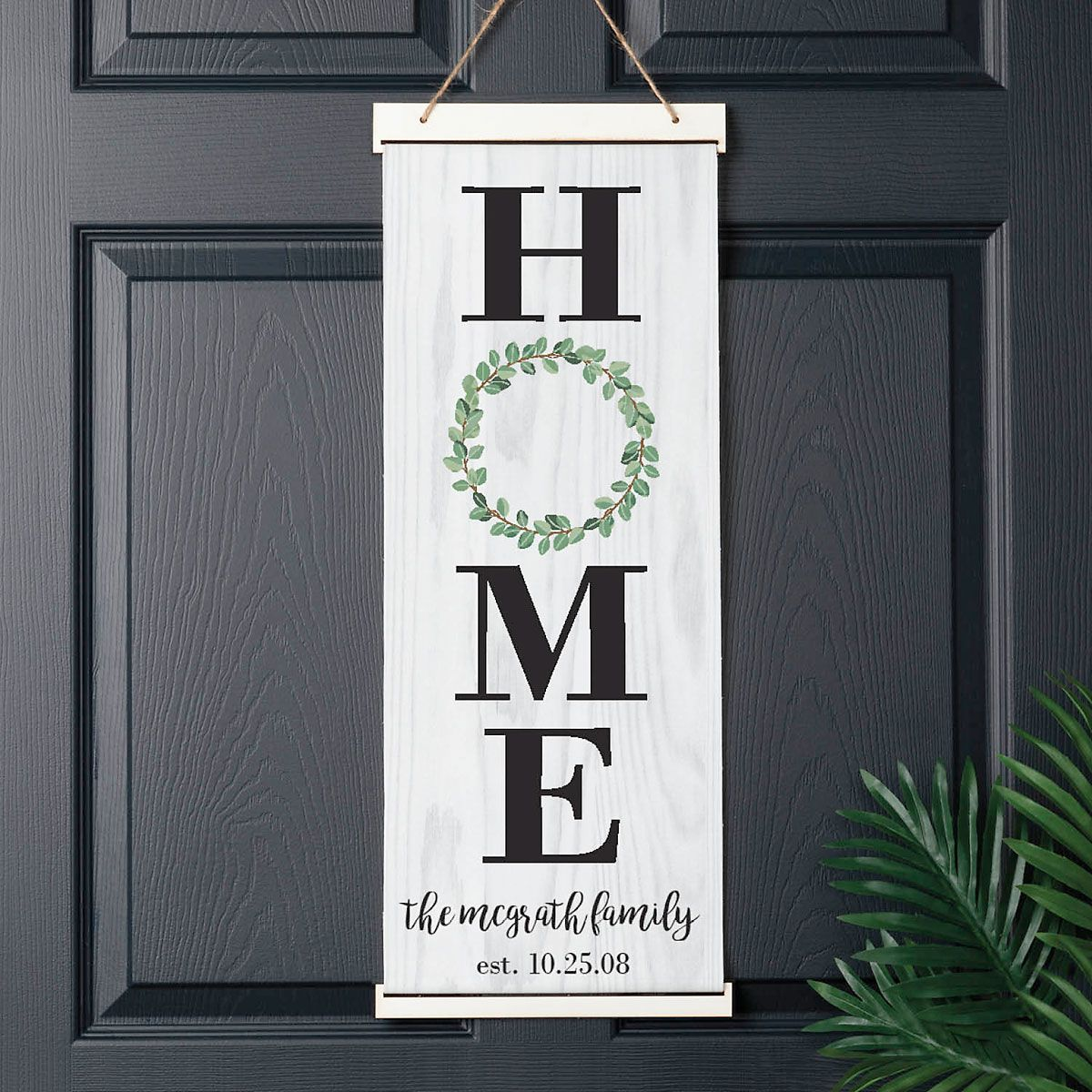Home Wreath Personalized Hanging Canvas