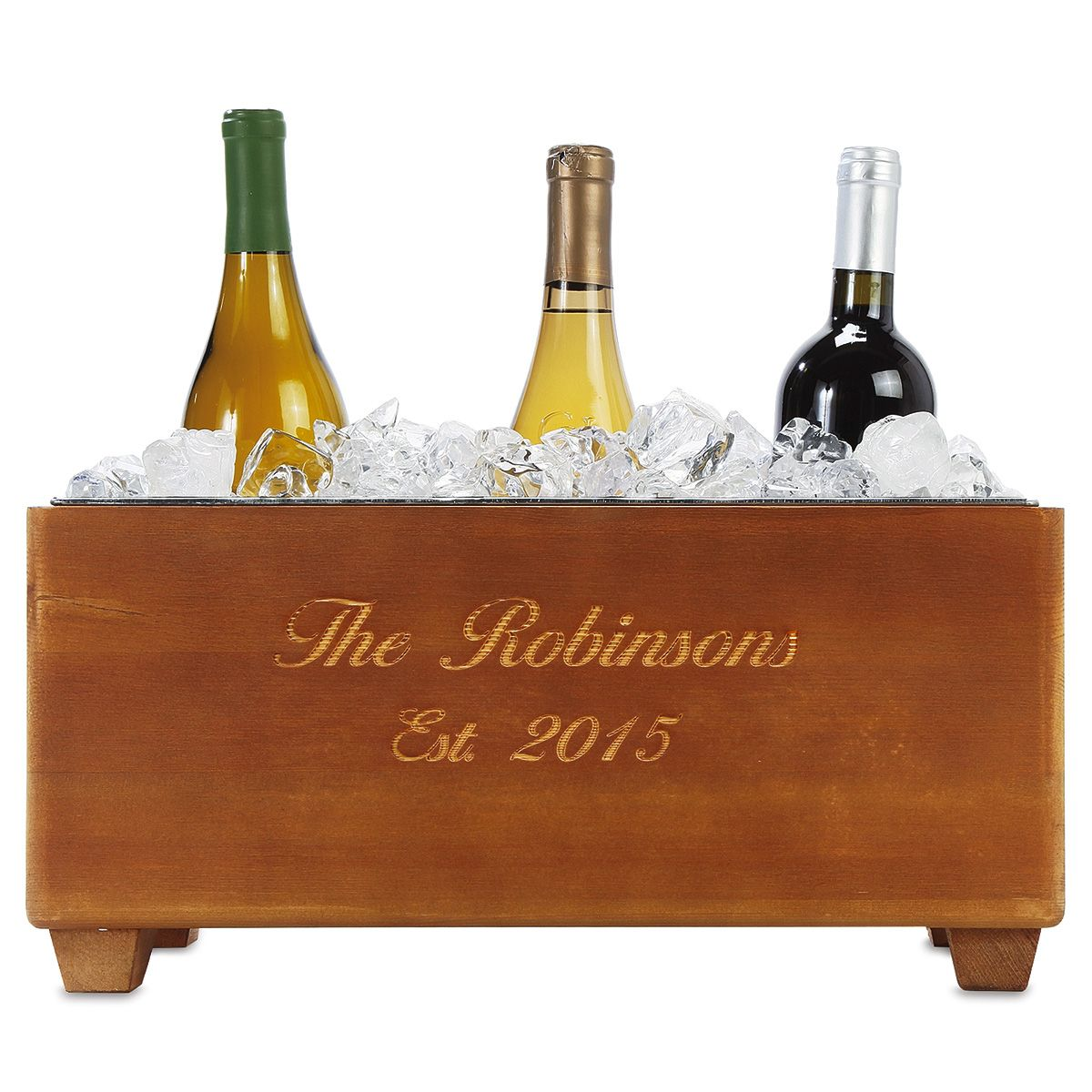 Wooden Personalized Wine Trough