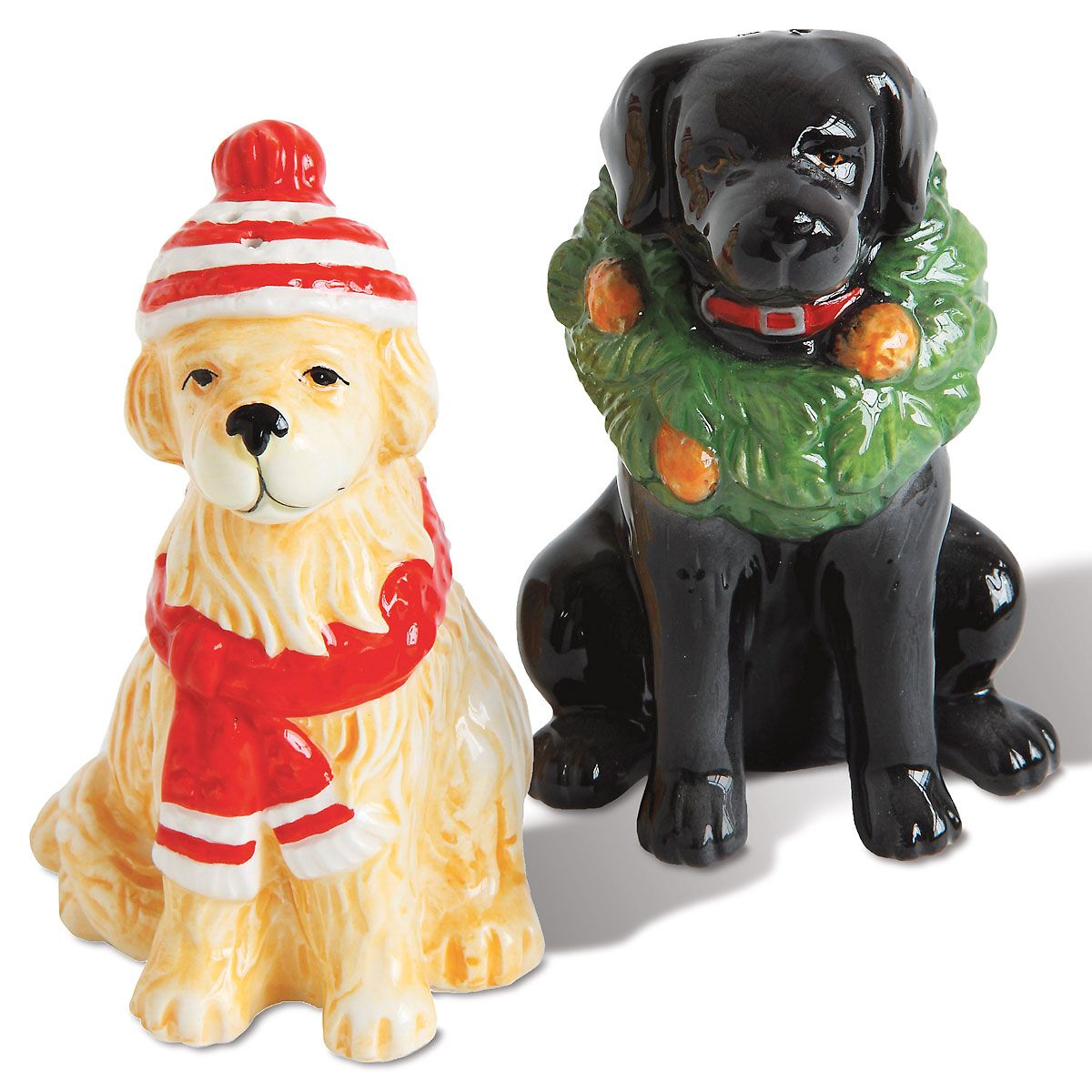 Winter Dog Salt & Pepper Shakers