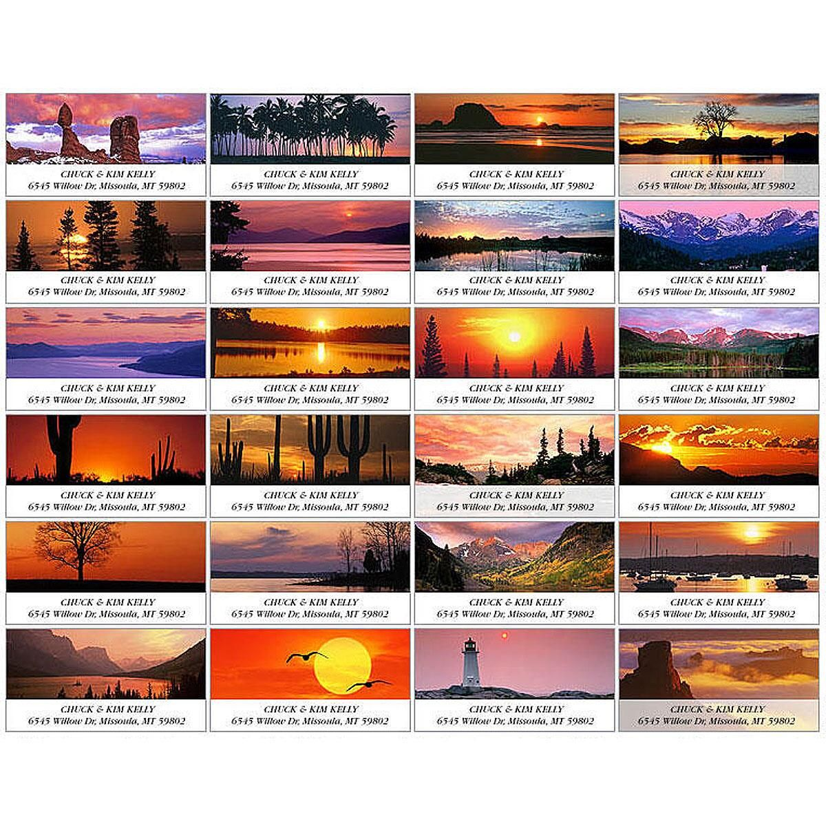 Sunrise & Sunset Deluxe Address Labels  (24 designs)
