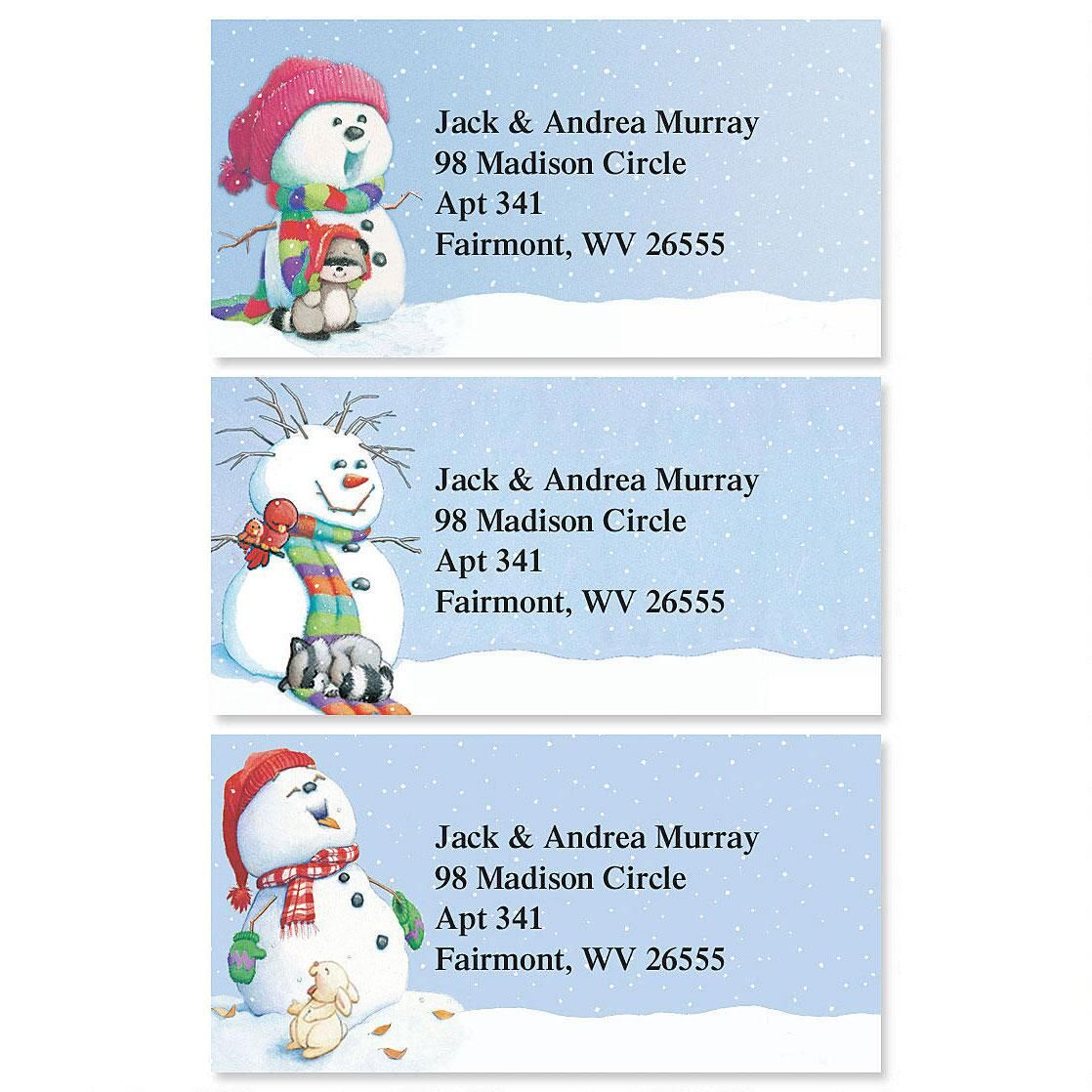 Snowman Delights Border Address Labels  (3 Designs)