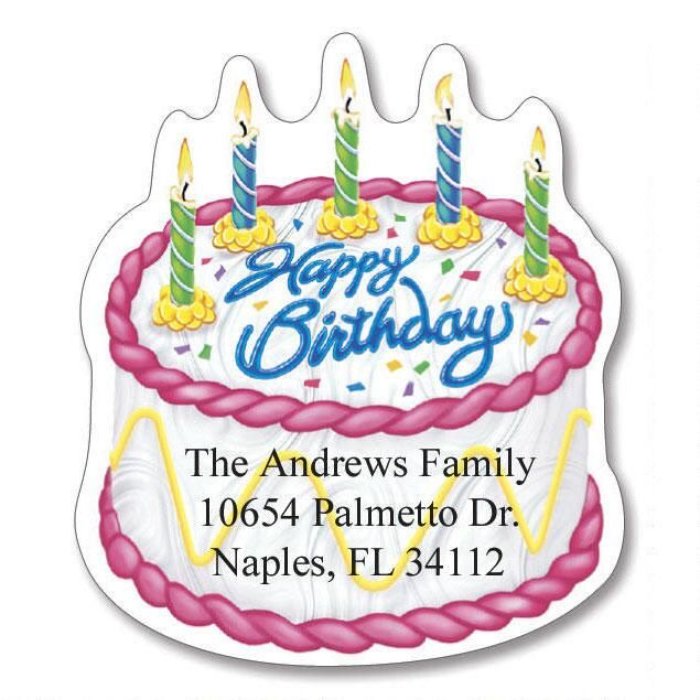 Birthday Diecut Address Labels  (6 designs)