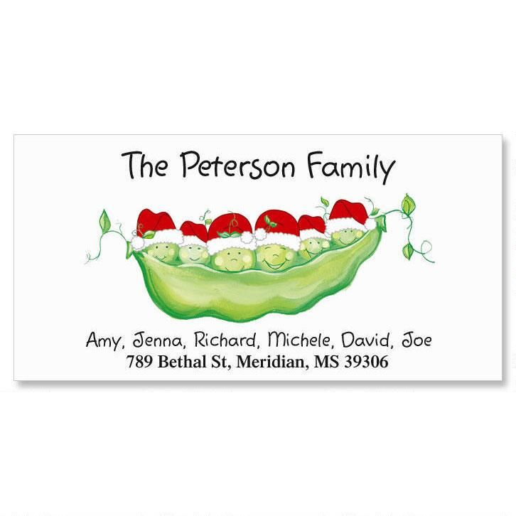 Santa Peas Family With Hats Deluxe Address Labels