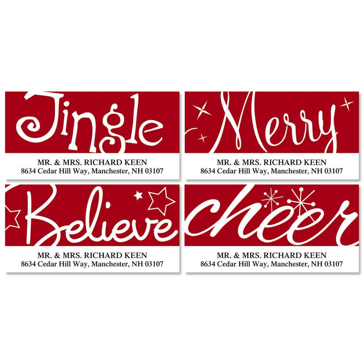 Red & White Christmas Deluxe Address Labels  (4 Designs)