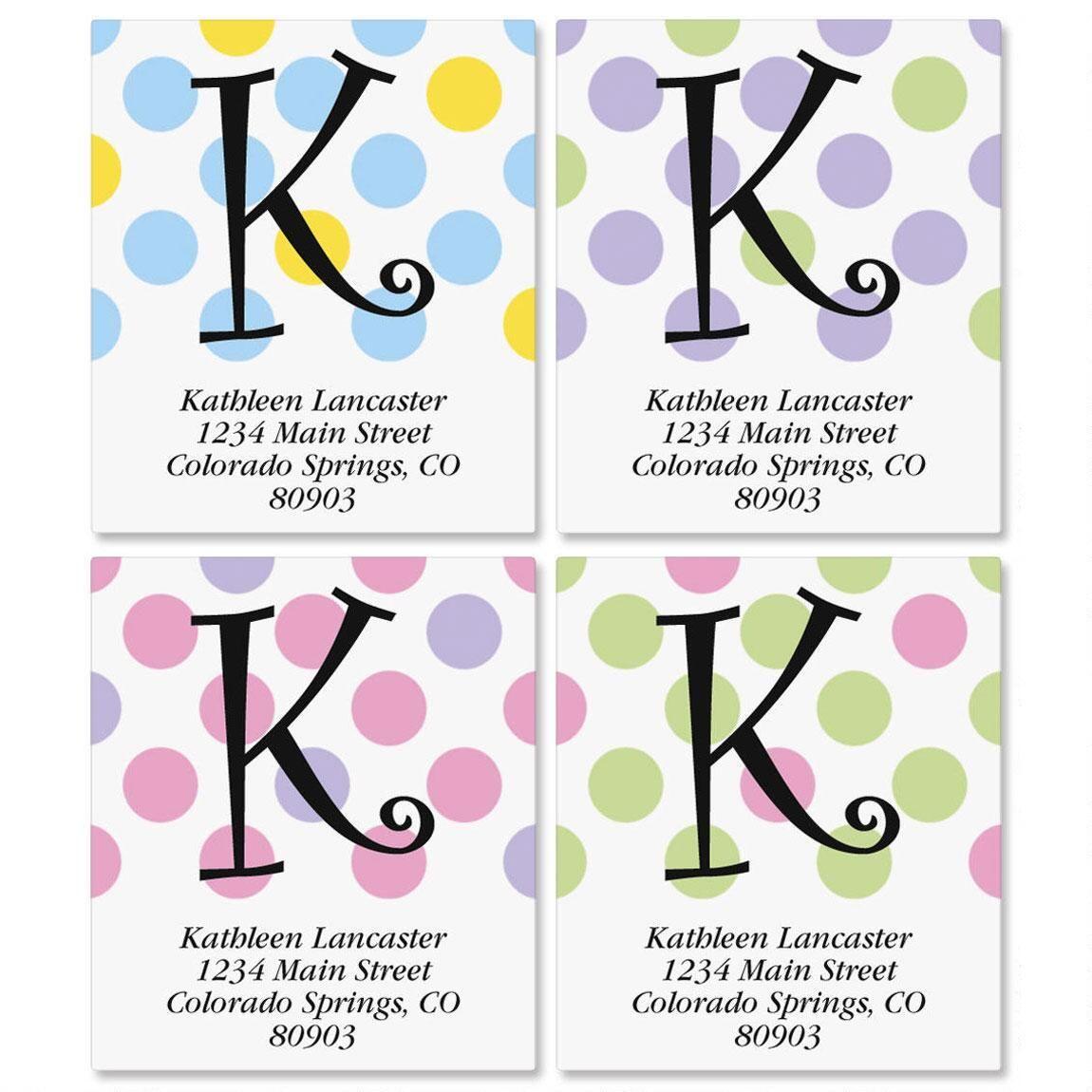 Initial Polka Select Address Labels  (4 designs)