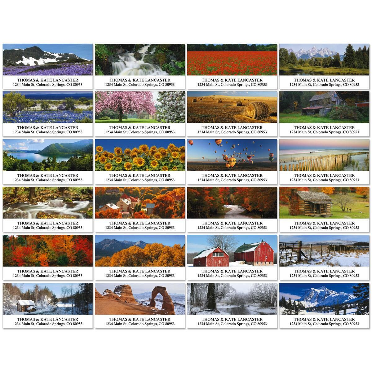 Seasons Across America Deluxe Address Labels  (24 designs)