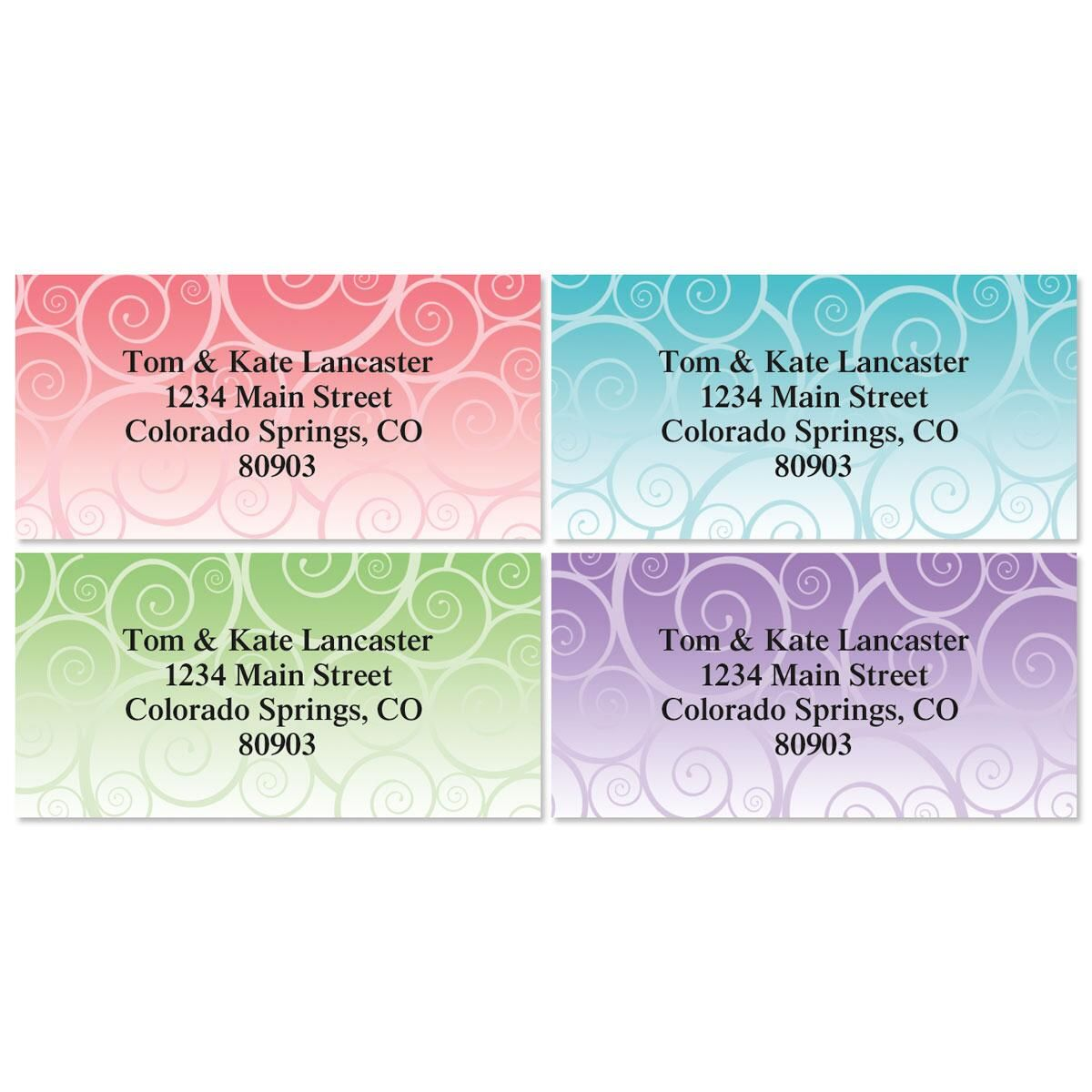 Swirly Girly Border Address Labels  (4 Designs)