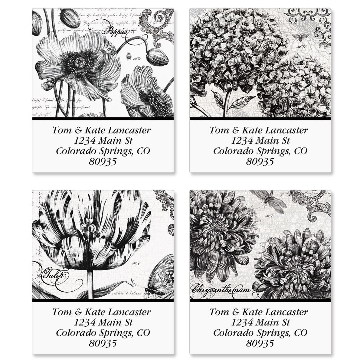 Botanical B&W Select Address Labels  (4 designs)