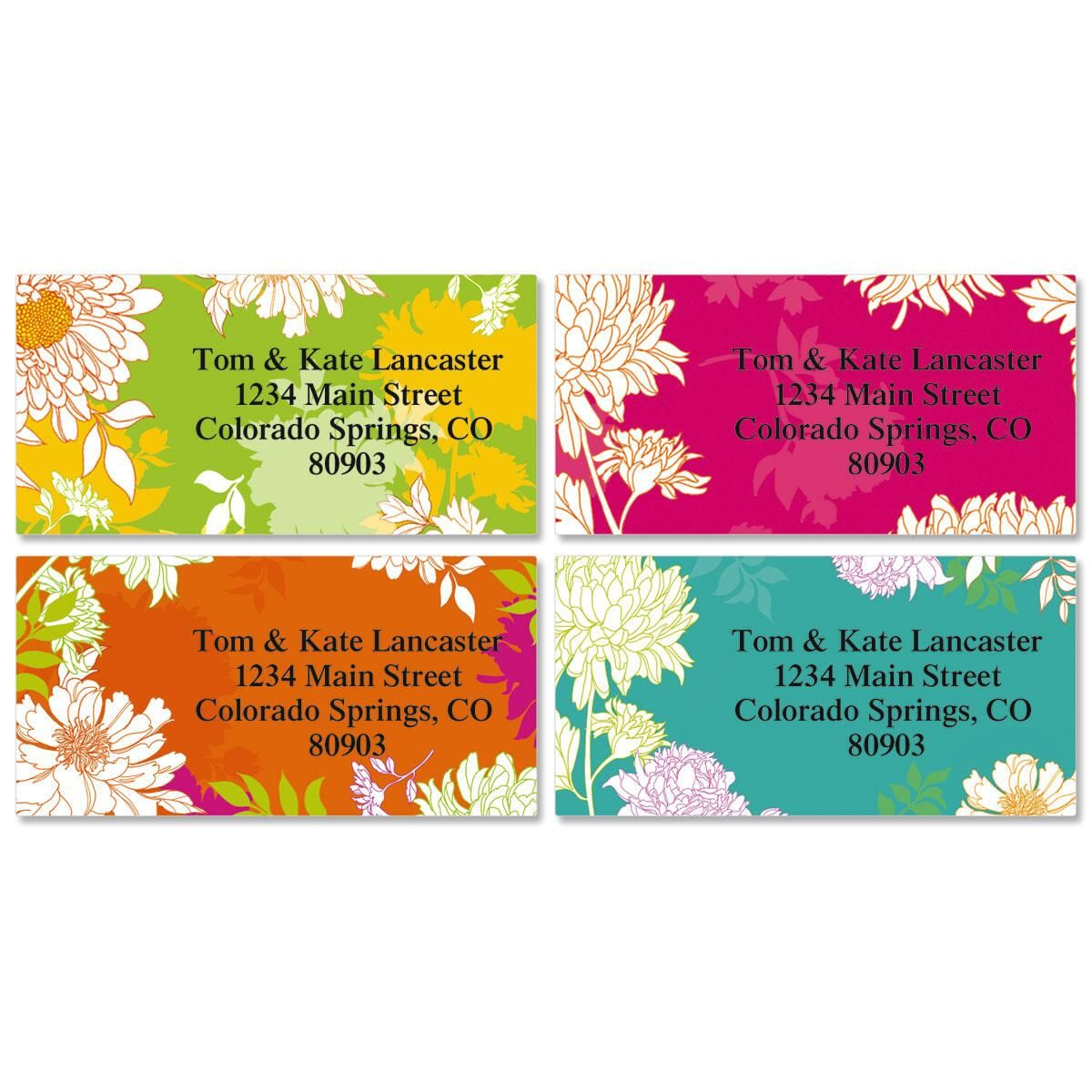Peonies in Color Border Address Labels  (4 Designs)