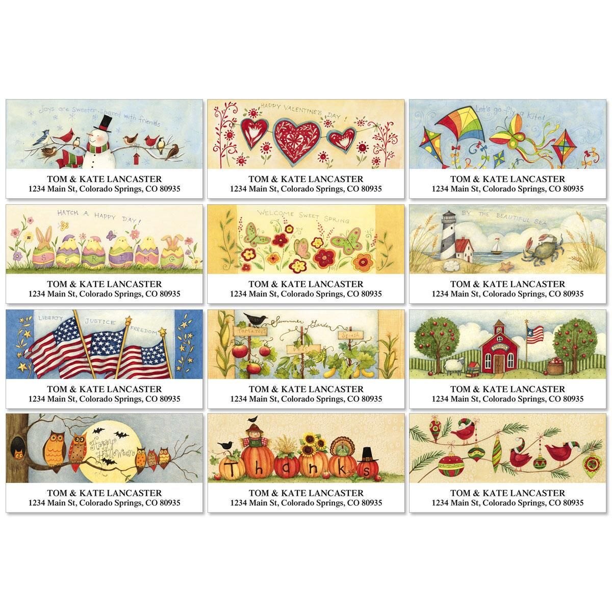 Susan's Seasons Deluxe Address Labels  (12 designs)