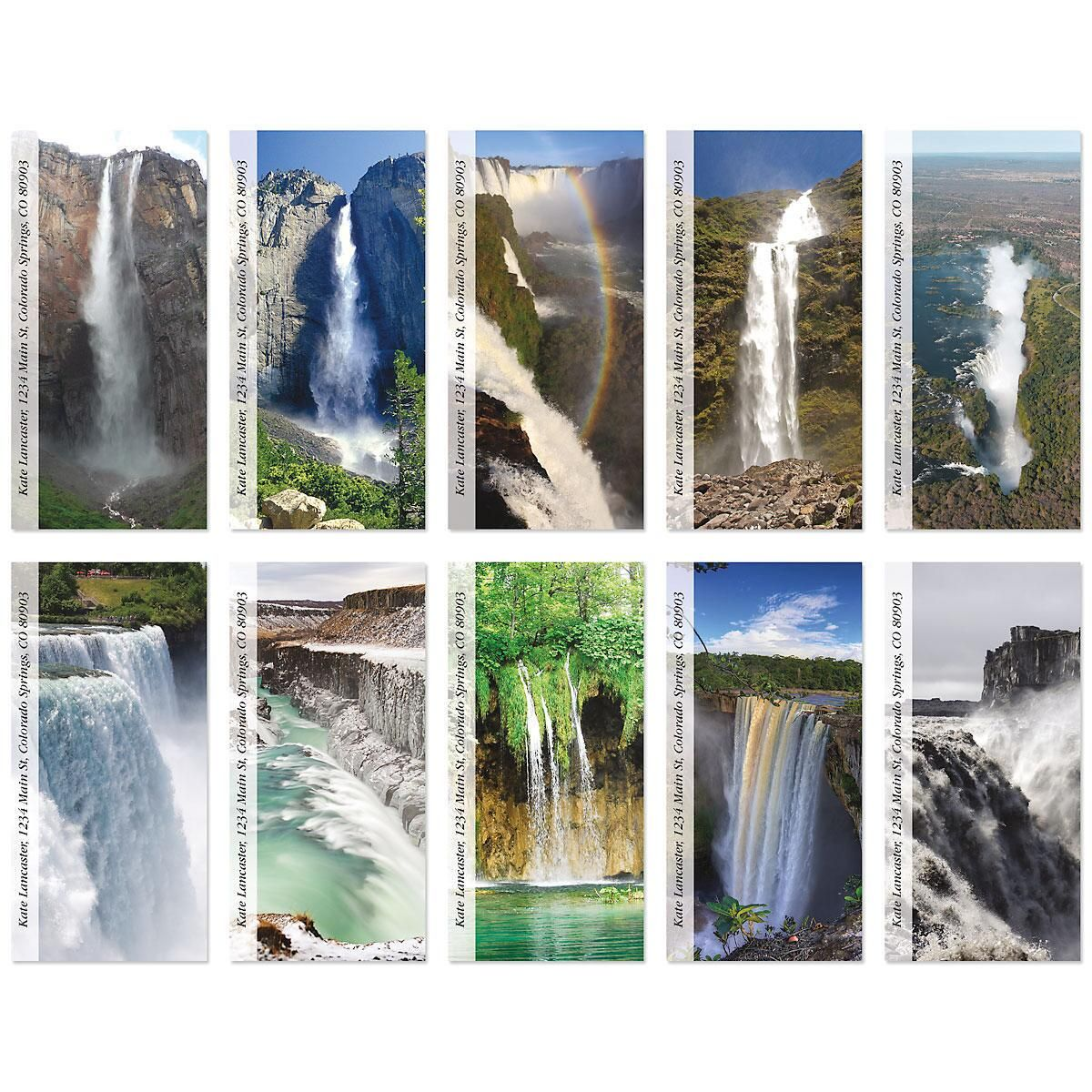 Top Ten Waterfalls Oversized Address Labels  (10 Designs)