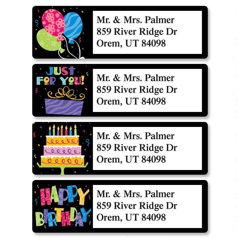 Bright On Black Classic Address Labels  (4 Designs)
