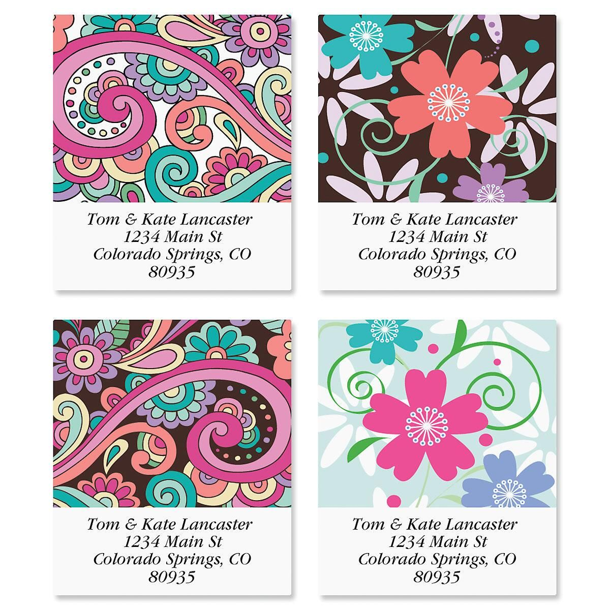 Floral Paisley Select Address Labels  (4 Designs)