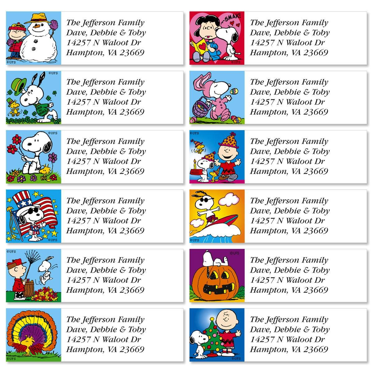 PEANUTS® Year Round Classic Label  (12 designs)