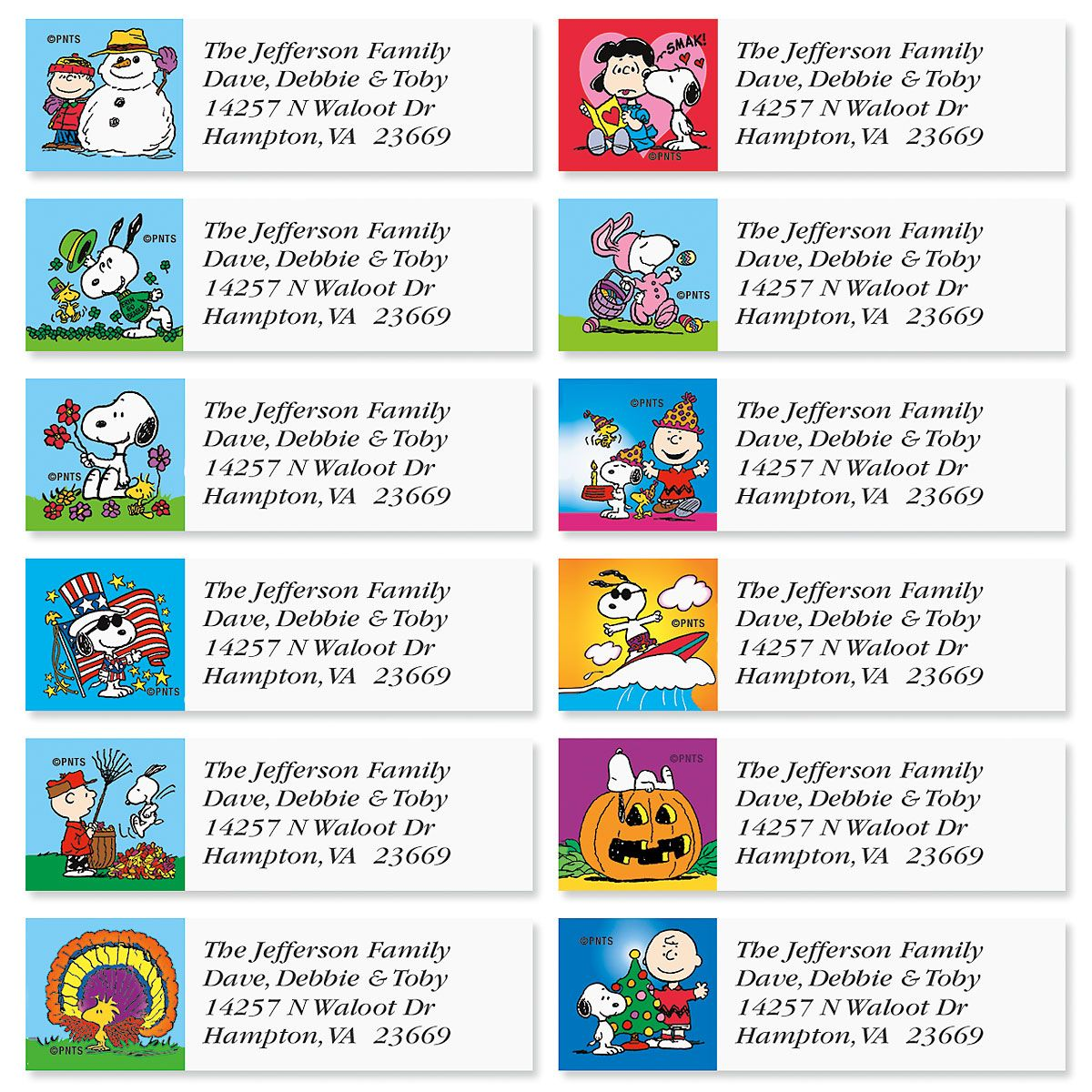 PEANUTS® Year Round Classic Address Labels  (12 Designs)
