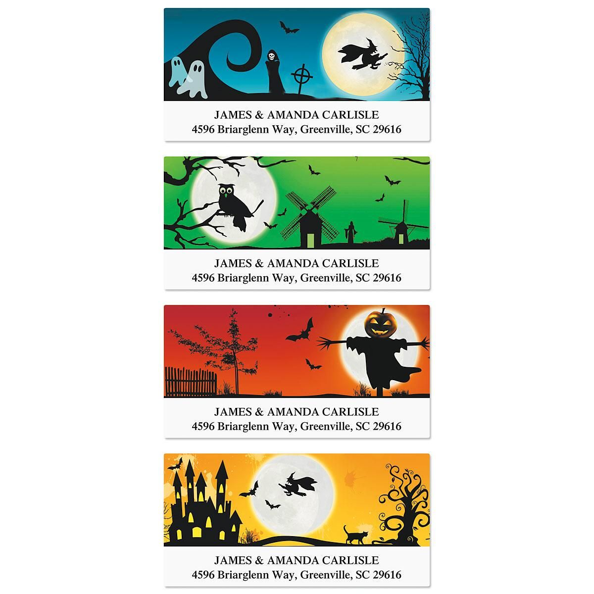 Spooky Scenes Deluxe Address Labels  (4 Designs)