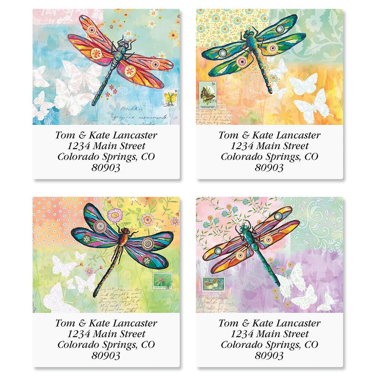 Vibrant Dragonflies Select Address Labels  (4 Designs)
