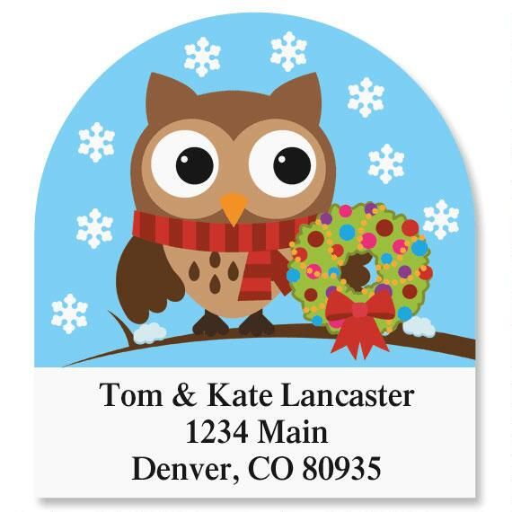 Holiday Hoot Diecut Address Labels (6 Designs) Celebrate that special occasion with these fun labels! You receive 144 personalized address labels per set, each measuring approximately 1-5/8  x - 7/8 . Specify 3 lines, up to 24 characters.