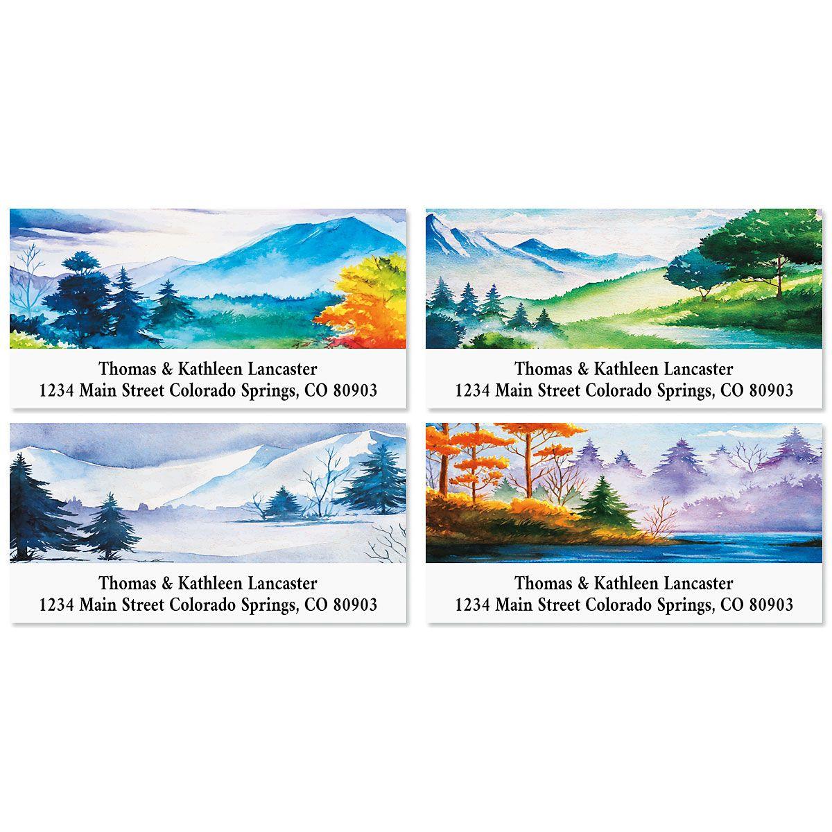 Painted Landscapes Deluxe Return Address Labels (4 Designs)