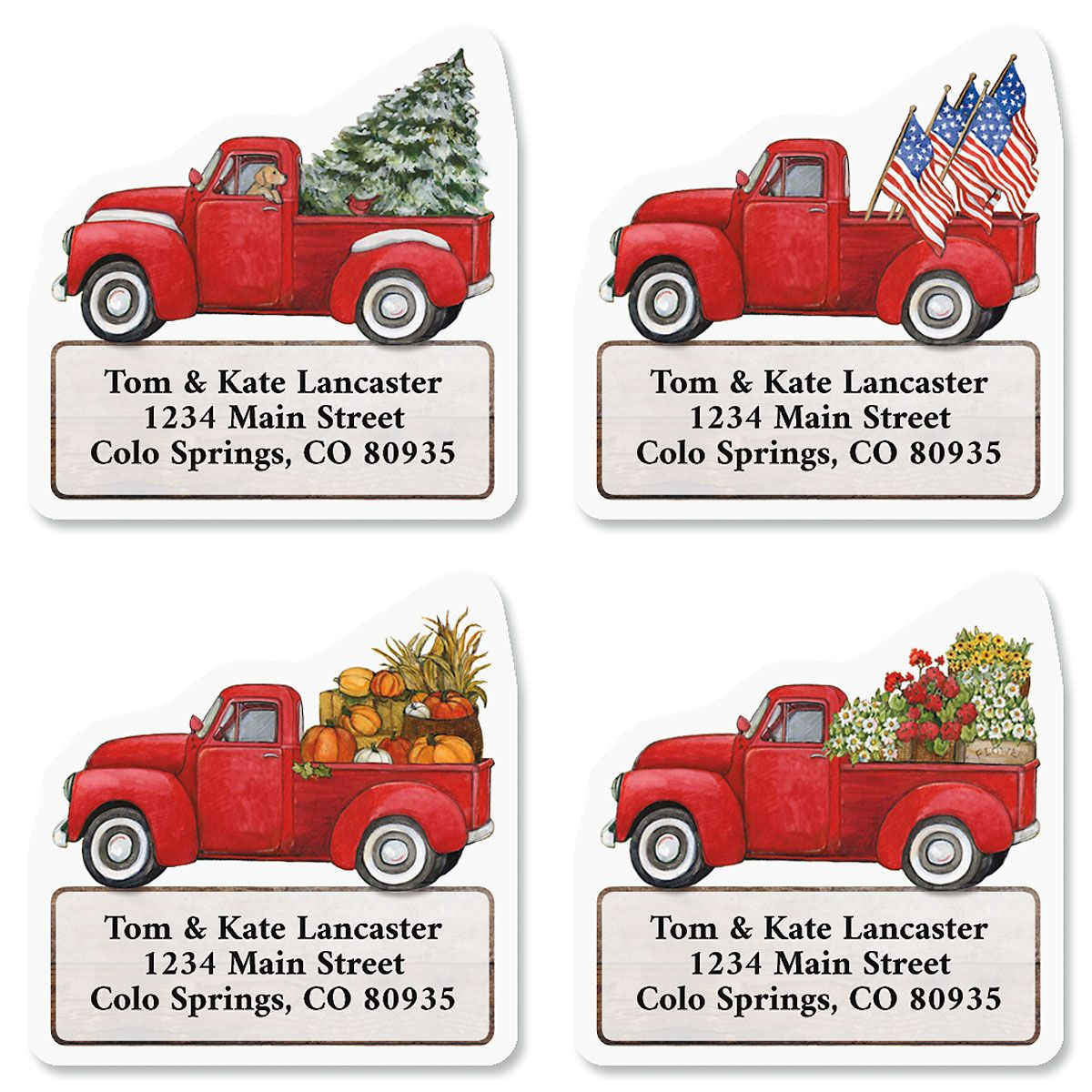 Red Trucks Diecut Address Labels (4 Designs)