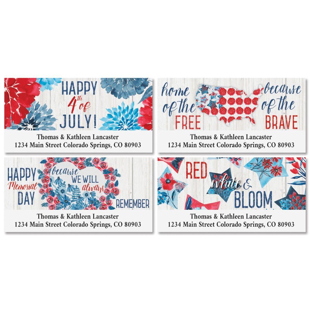 Patriotic Bloom Deluxe Address Labels (4 Designs)
