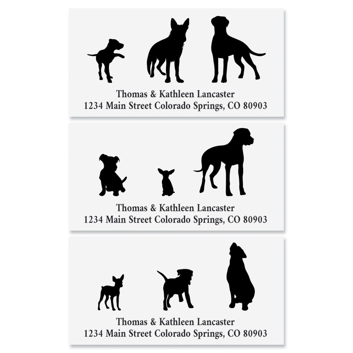Dog Buddies Deluxe Address Labels Personalized address labels are also a quick and easy way to label your books, CDs, DVDs and other belongings to avoid mix-ups. The set includes 144 personalized self-stick address labels, each measuring 1-1/8  x 2-1/4 . We'll print your labels with the name and address, message, or information you choose. Specify block or script and 1st line of personalization, up to 35 characters and 2nd line of personalization up to 50 characters.