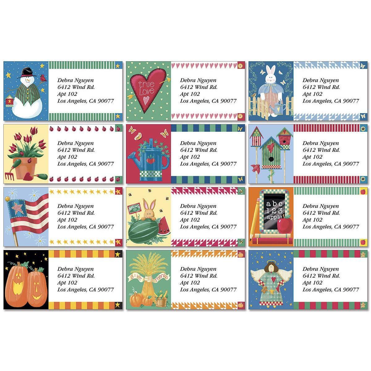 Vicky';s Year Round Border Address Labels  (12 designs)