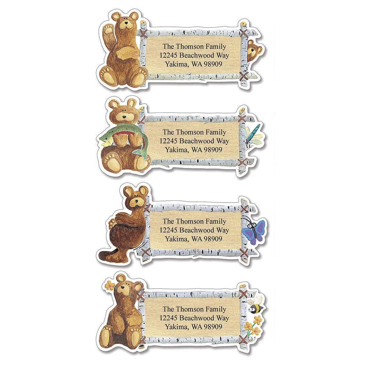Bear Lodge Buddies  Diecut Address Labels  (4 designs)