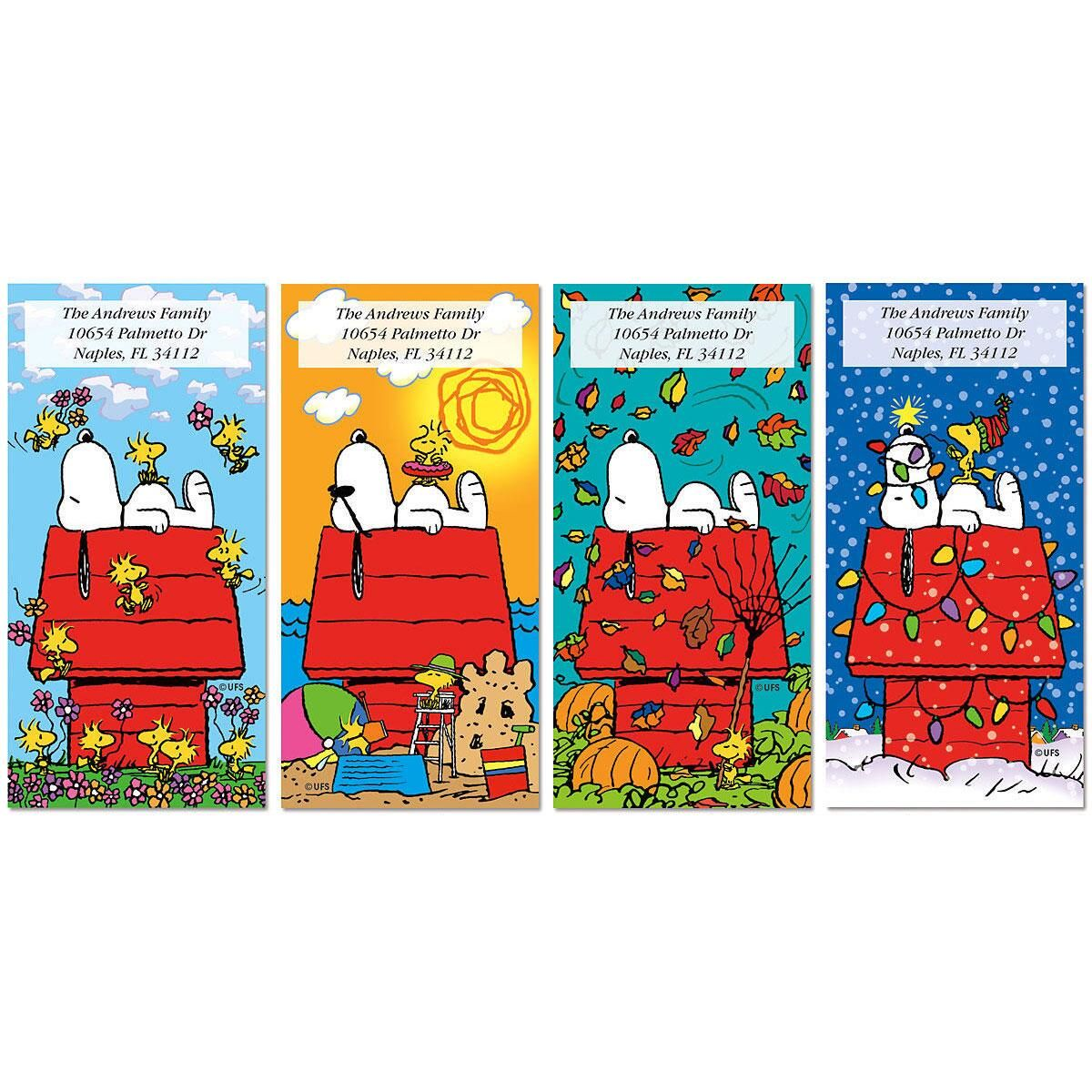 Snoopy outdoor christmas decorations - Snoopy 4 Seasons Oversized Address Labels 4 Designs