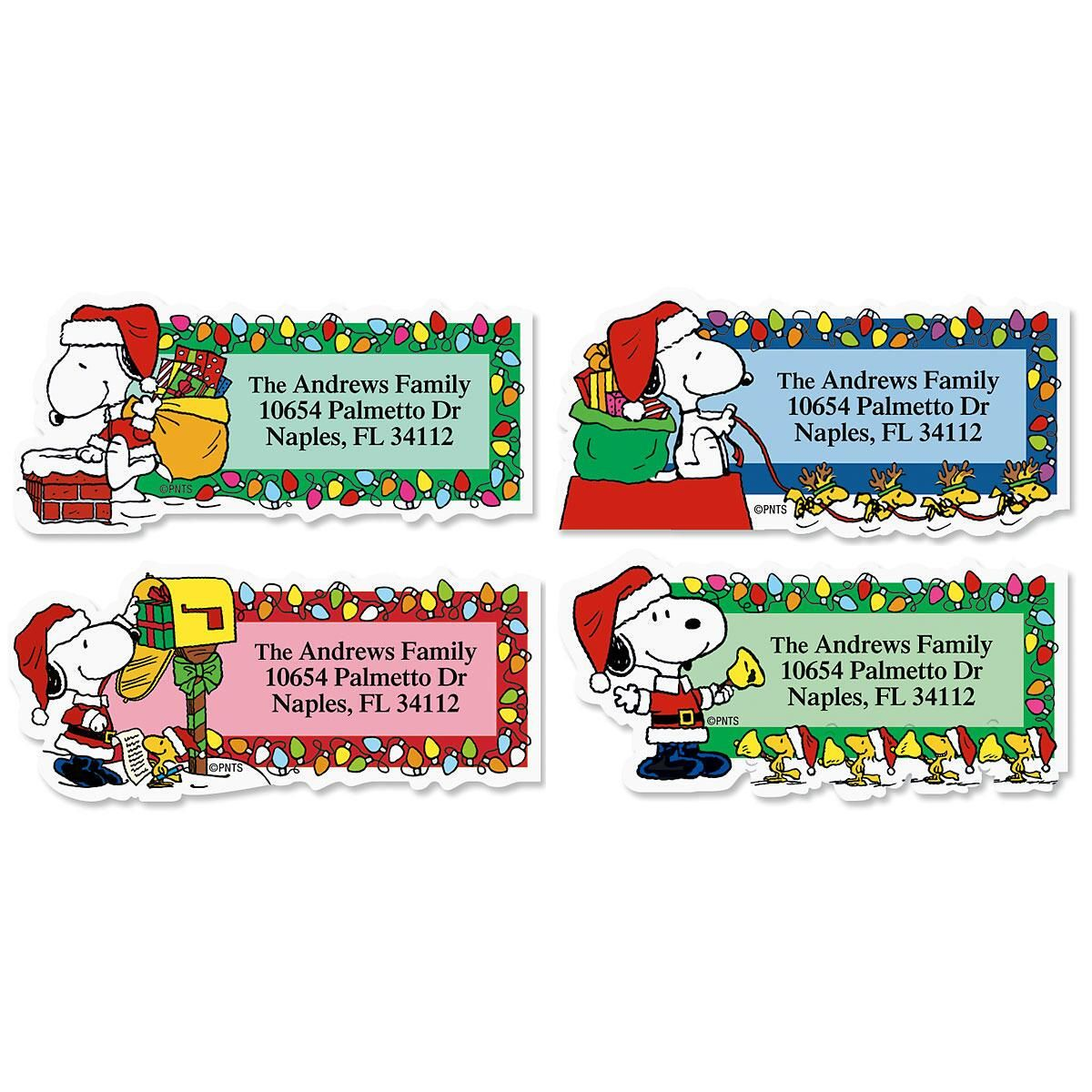 Snoopy™ Santa Diecut Address Labels  (4 Designs)
