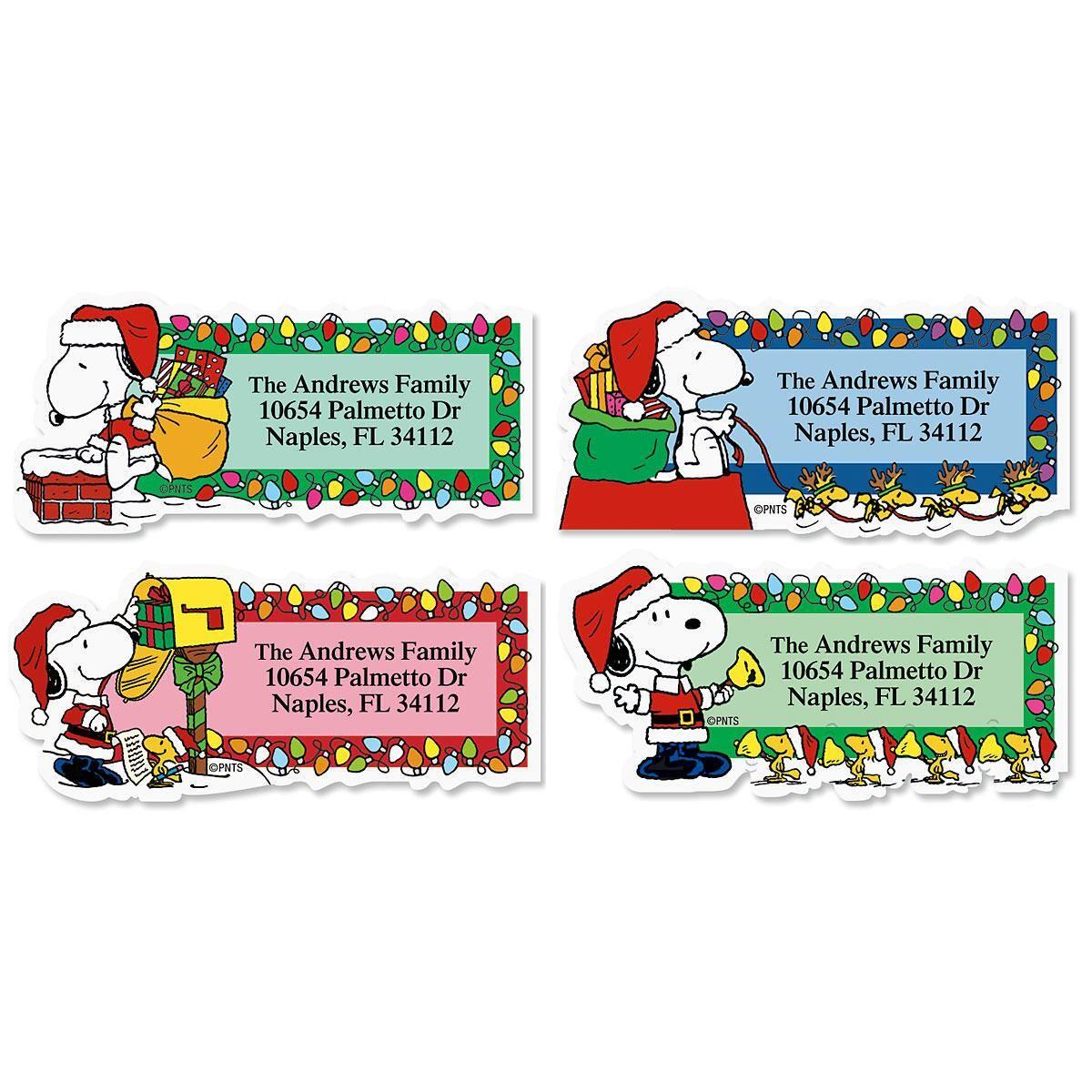 Snoopy™ Santa Diecut Address Labels  (4 Designs)