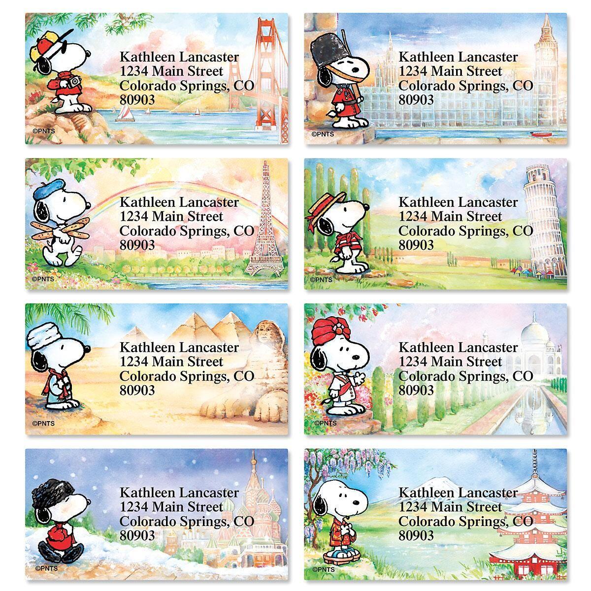 Snoopy™ Around the World Border Address Labels  (8 Designs)