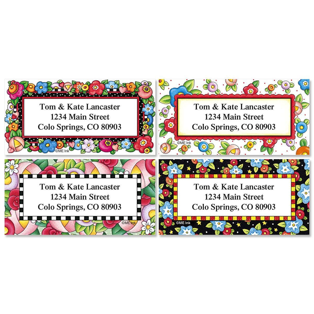 Mary';s Bright Blossoms Border Address Labels  (4 designs)