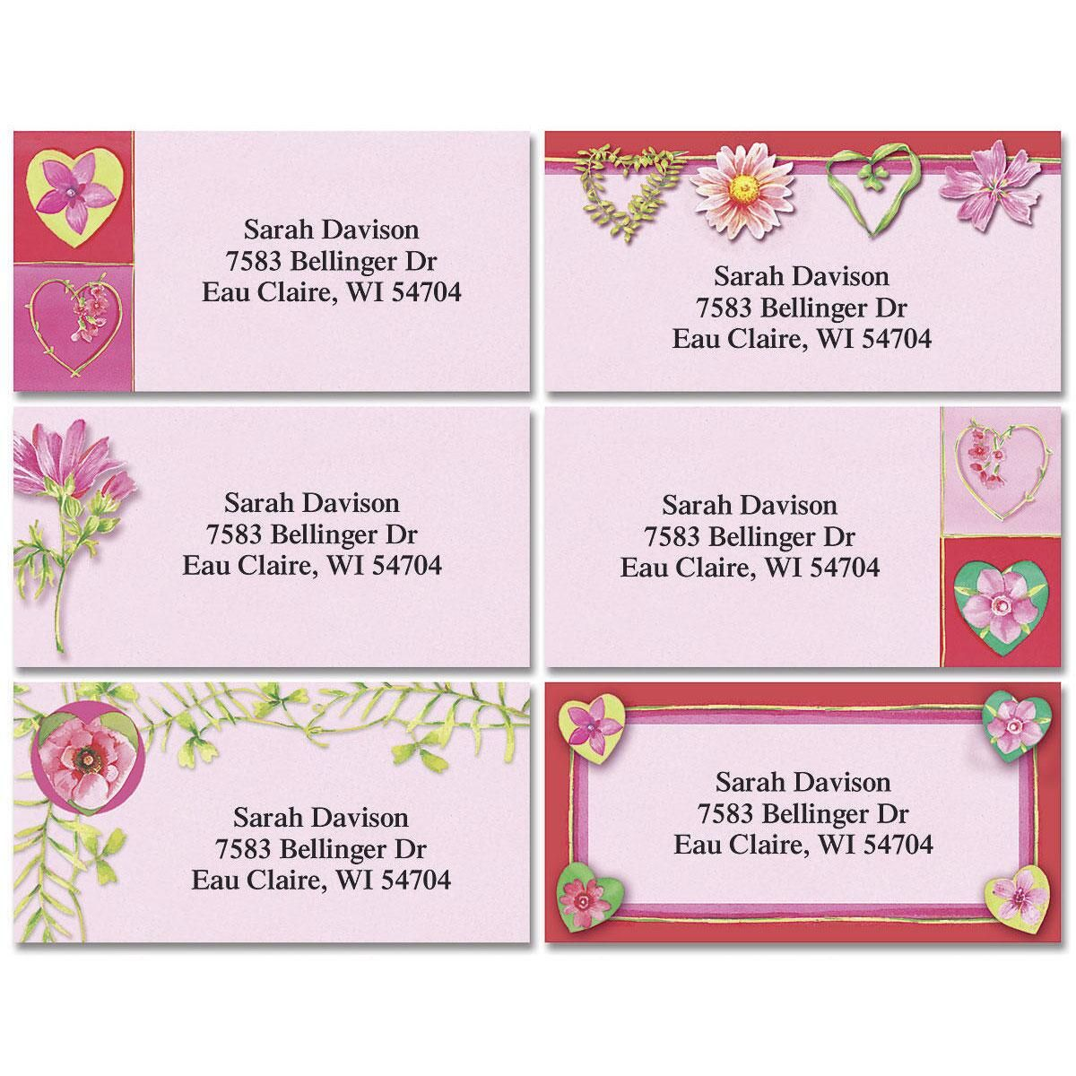 Hearts & Vines Border Address Labels  (6 Designs)