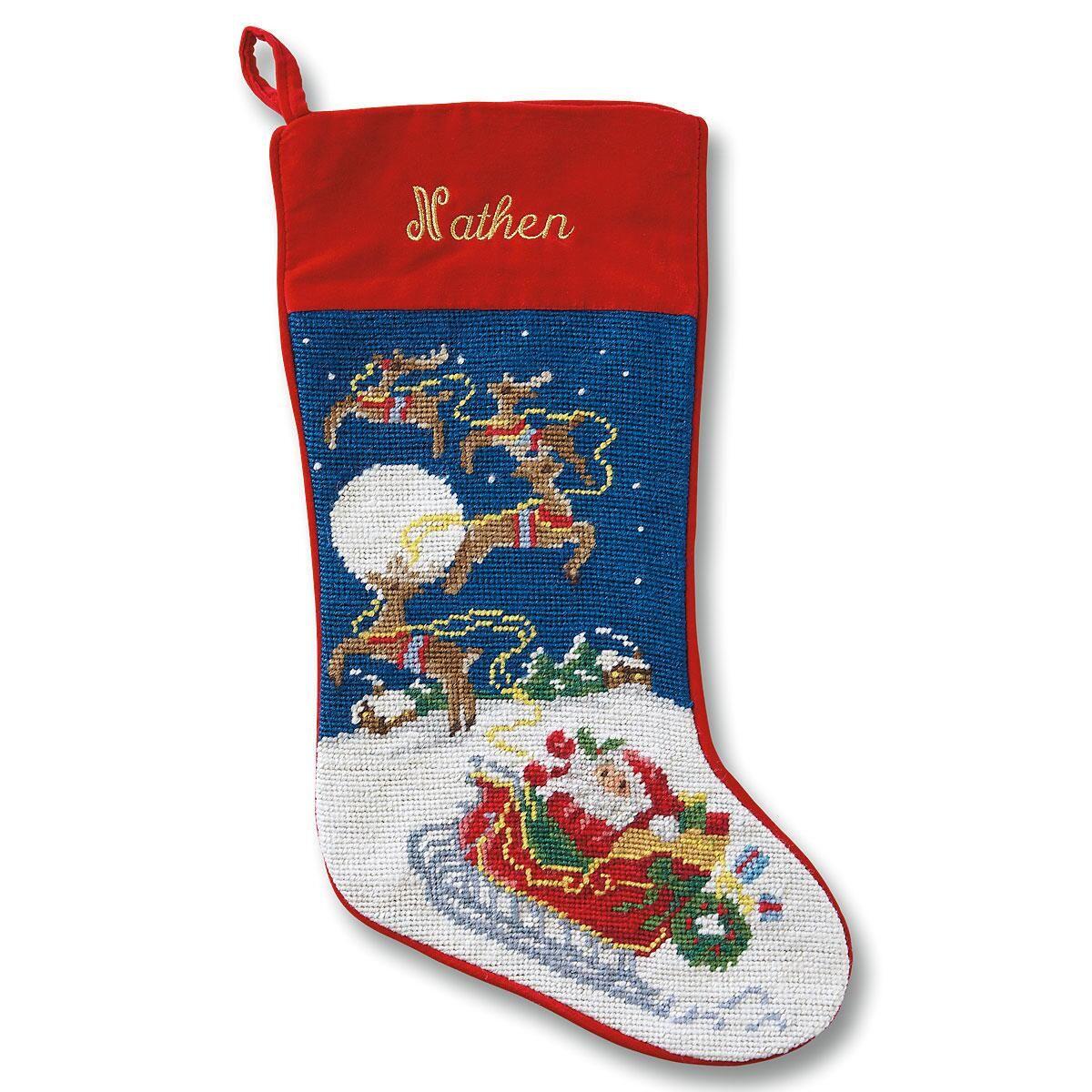Sleigh & Reindeer Heirloom Needlepoint Stocking