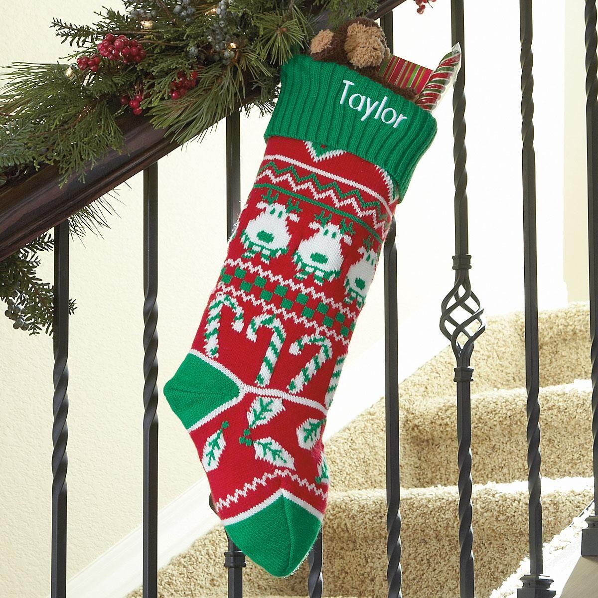 Reindeer Green Argyle Stocking