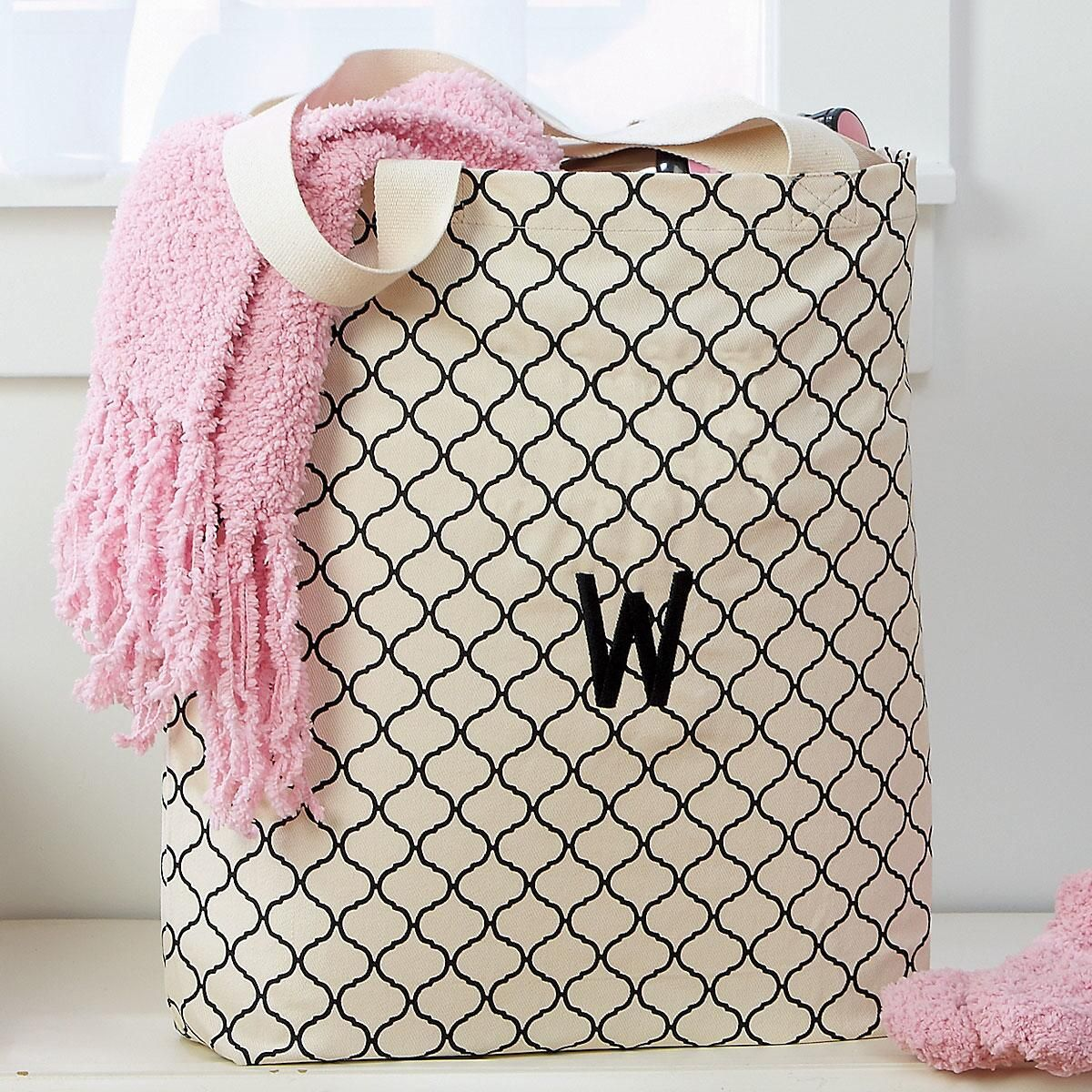 Personalized Trellis Pattern Market Bag