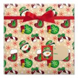 Country Mitten & Stocking Jumbo Rolled Gift Wrap and Labels