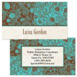 Aqua & Chocolate Double-Sided Business Cards