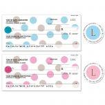 Pastel Dots Duplicate Checks with Matching Address Labels