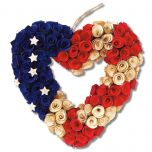 Wooden Patriotic Heart Wreath