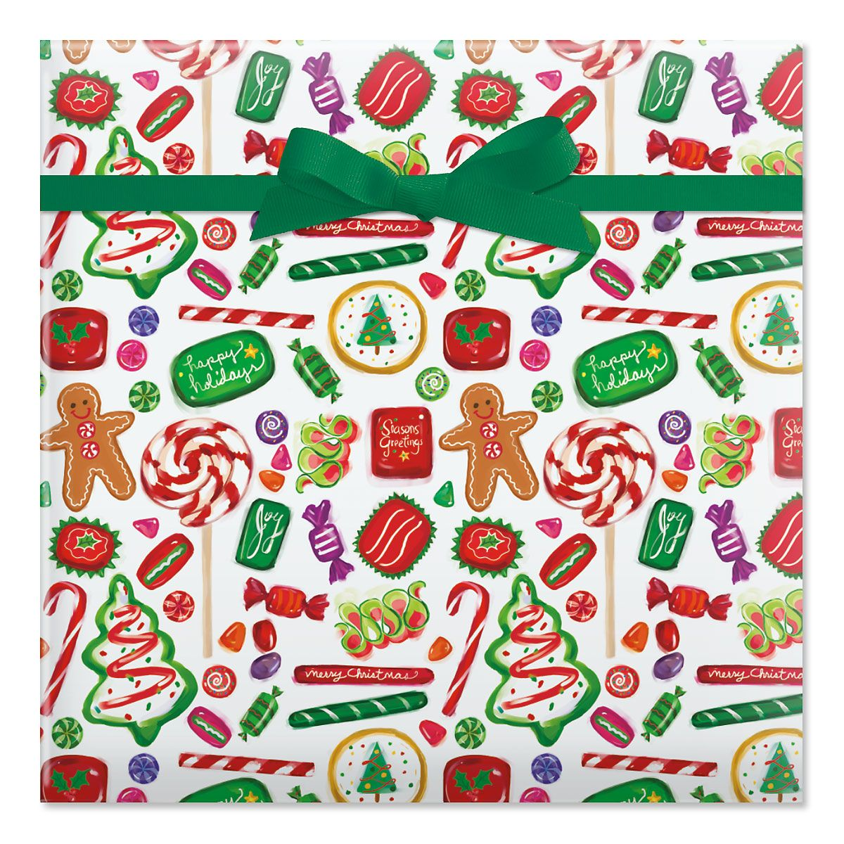 Christmas Candy Jumbo Rolled Gift Wrap